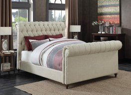 Gresham Beige Upholstered Cal. King Bed