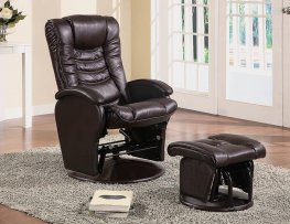 Casual Brown Reclining Glider & Ottoman