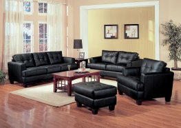 Samuel Transitional Black Sofa & Love