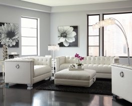 Chaviano Contemporary White Sofa & Love
