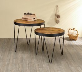Industrial Honey and Black Nesting Tables