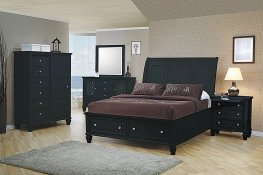 Sandy Beach Black Queen Sleigh Bed