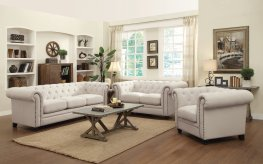 Roy Traditional White Sofa & Love