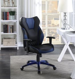 Contemporary Black/Blue High-Back Office Chair