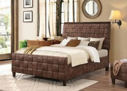 Gallagher Brown Upholstered Queen Bed