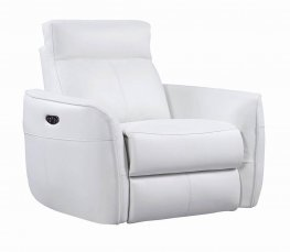 Cecelia White Power Recliner with Power Headrest