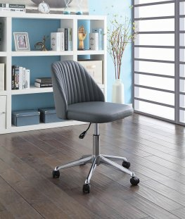 Modern Grey Channeled Back Office Chair