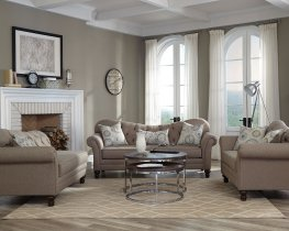 Carnahan Traditional Brown Sofa & Love