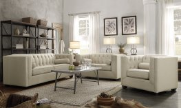 Cairns Transitional Beige Sofa & Love