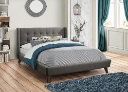 Carrington Grey Upholstered Twin Bed