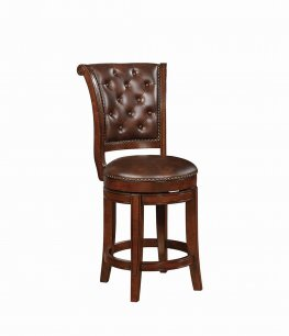 Traditional Warm Brown Swivel Counter-Height Stool