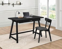 Casual Black Desk and Chair Set