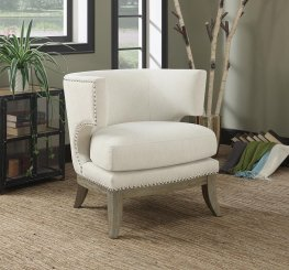 Contemporary White Accent Chair