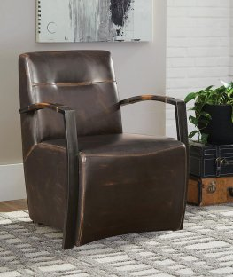 Industrial Antique Espresso Accent Chair