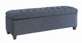 Traditional Grey Button Tufted Bench