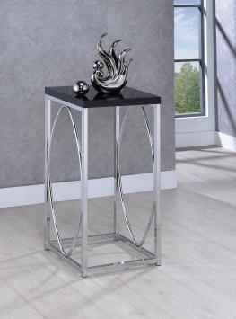 Glossy Black and Chrome Accent Table