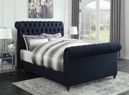 Gresham Navy Blue Upholstered Cal. King Bed