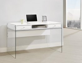 Contemporary Glossy White Writing Desk