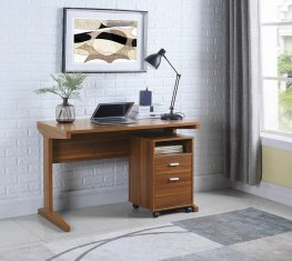 Transitional Light Walnut Two-Piece Desk Set