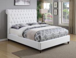 Devon White Upholstered Full Bed