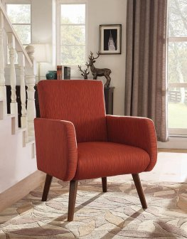 Mid-Century Modern Orange-Red Accent Chair