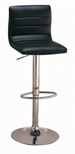 Contemporary Black and Chrome Adjustable Height Bar Stool