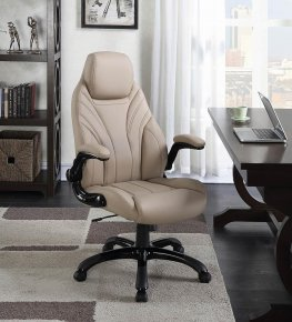 Contemporary Khaki High-Back Office Chair