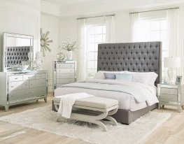 Camille Grey Upholstered Cal. King Bed