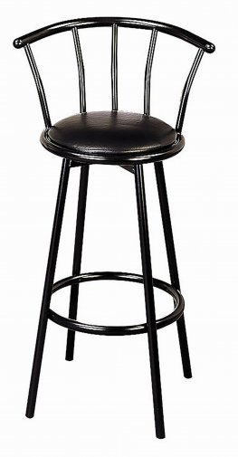 30in. Metal Swivel Black Bar Stool