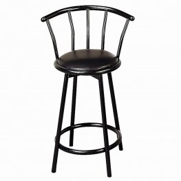 24in. Metal Swivel Black Bar Stool