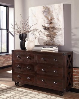Three-Drawer Dark Brown Accent Cabinet