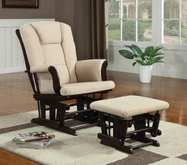 Traditional Beige Rocking Glider & Ottoman